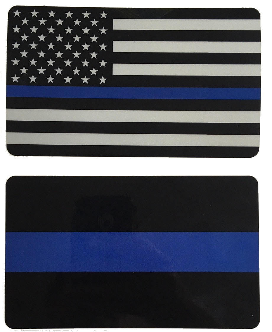 Blue Line & Flag Reflective Decal